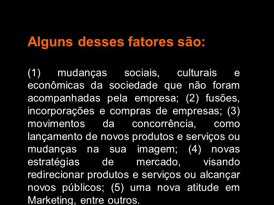 Alguns desses fatores são: (1) mudanças sociais, culturais e econômicas da sociedade que não foram acompanhadas pela empresa; (2) fusões, incorporaçõe