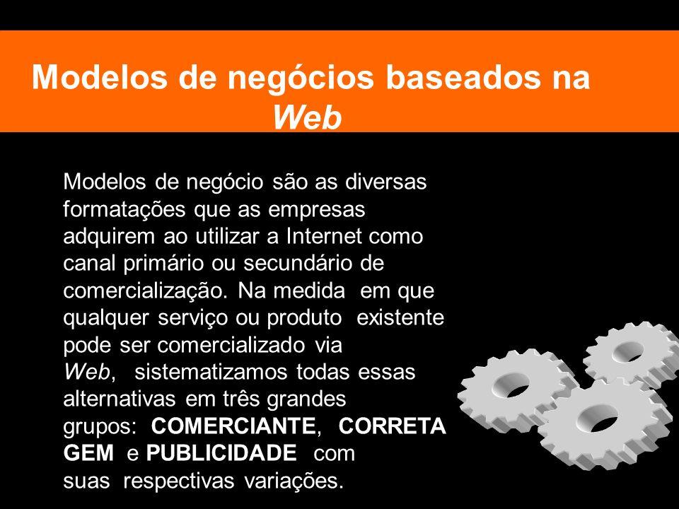 Modelos de negócios baseados na Web Modelos de negócio são as diversas formatações que as empresas adquirem ao utilizar a Internet como canal primário