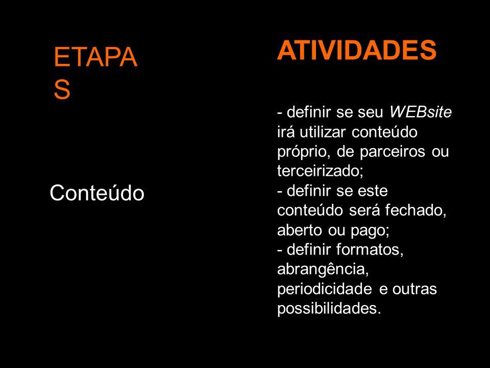 ETAPA S ATIVIDADES Conteúdo - definir se seu WEBsite irá utilizar conteúdo próprio, de parceiros ou terceirizado; - definir se este conteúdo será fech