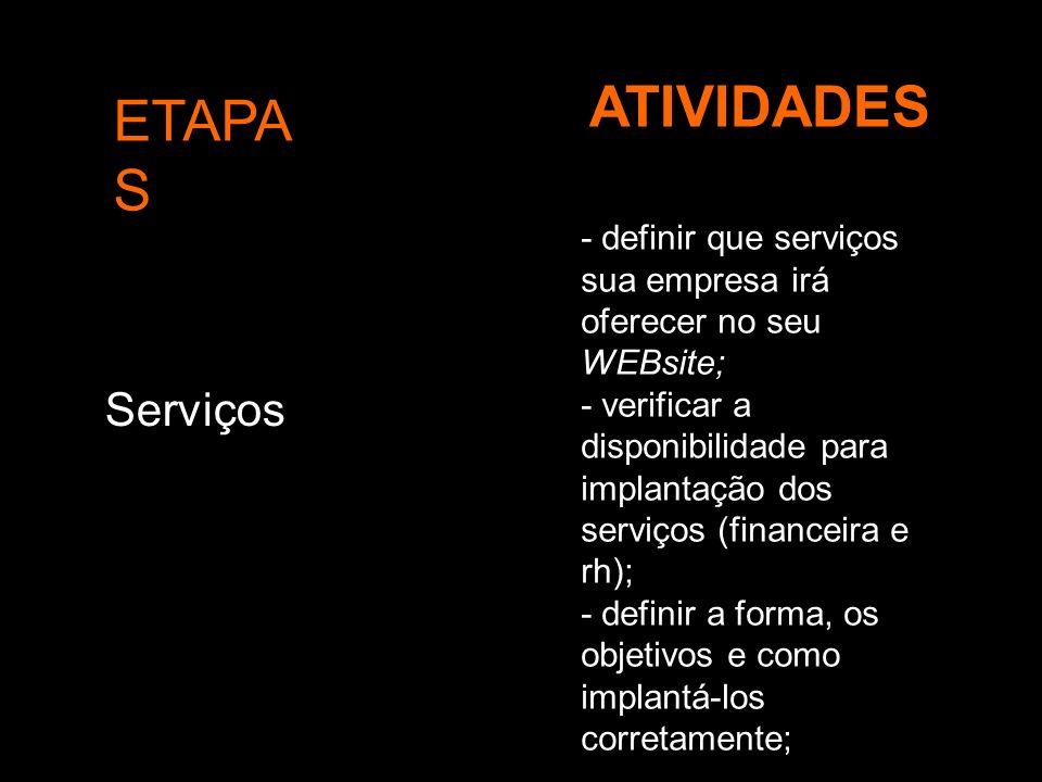 ETAPA S ATIVIDADES Serviços - definir que serviços sua empresa irá oferecer no seu WEBsite; - verificar a disponibilidade para implantação dos serviço
