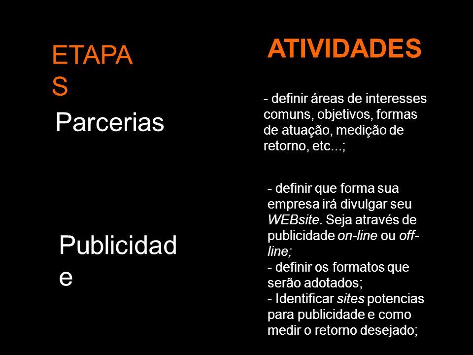 ETAPA S ATIVIDADES Parcerias - definir áreas de interesses comuns, objetivos, formas de atuação, medição de retorno, etc...; Publicidad e - definir qu