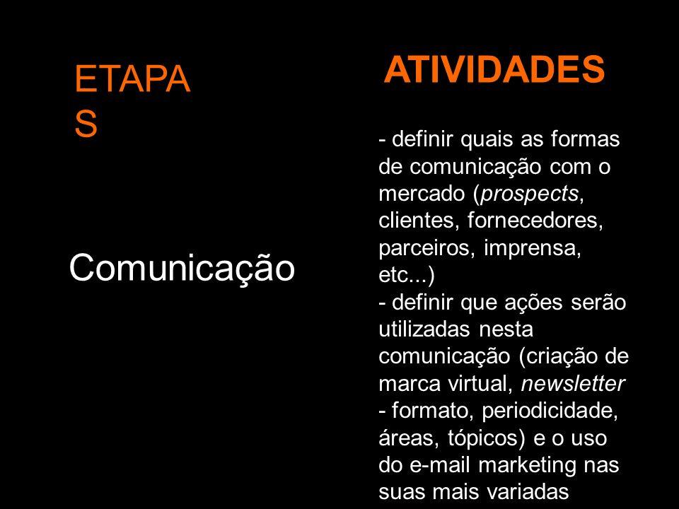 ETAPA S ATIVIDADES Comunicação - definir quais as formas de comunicação com o mercado (prospects, clientes, fornecedores, parceiros, imprensa, etc...)