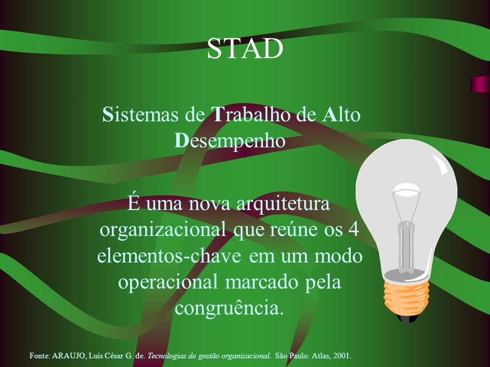 STAD Sistemas de Trabalho de Alto Desempenho É uma nova arquitetura organizacional que reúne os 4 elementos-chave em um modo operacional marcado pela