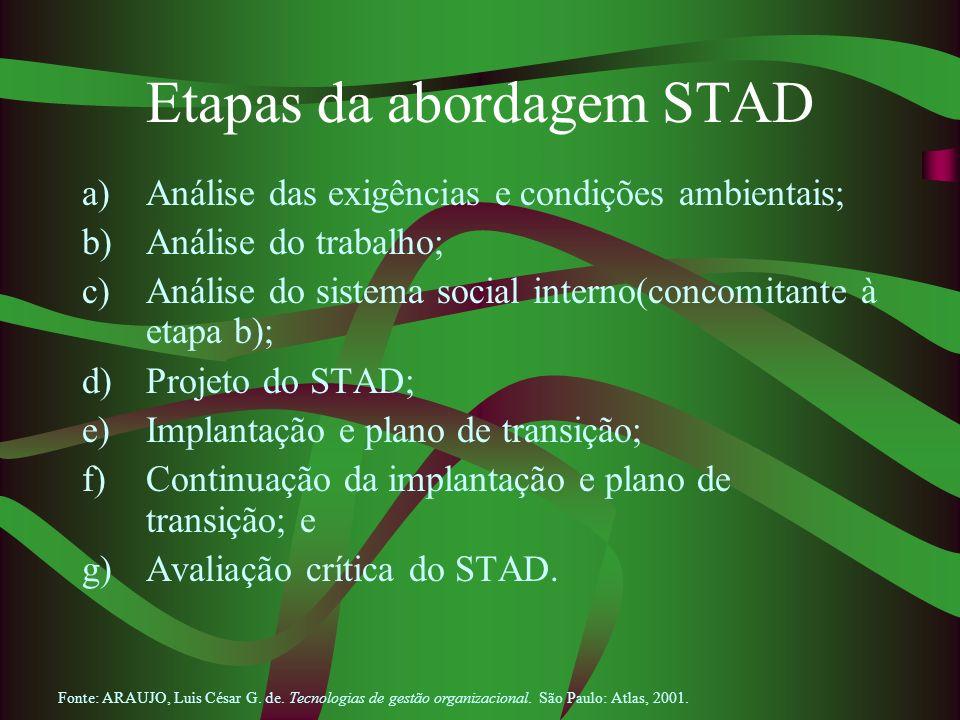 Etapas da abordagem STAD a)Análise das exigências e condições ambientais; b)Análise do trabalho; c)Análise do sistema social interno(concomitante à et