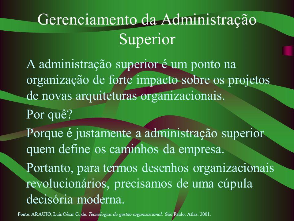 Gerenciamento da Administração Superior A administração superior é um ponto na organização de forte impacto sobre os projetos de novas arquiteturas or