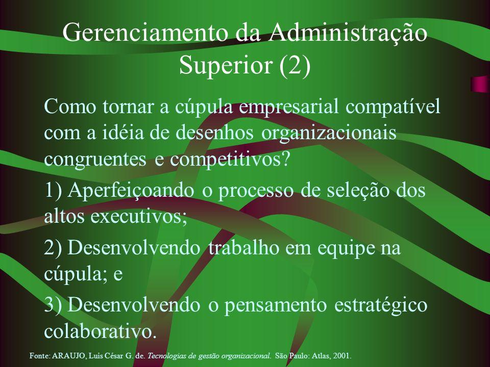 Gerenciamento da Administração Superior (2) Como tornar a cúpula empresarial compatível com a idéia de desenhos organizacionais congruentes e competit