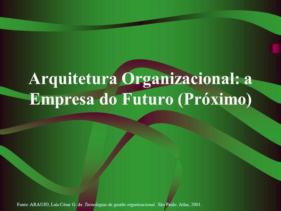 Arquitetura Organizacional: a Empresa do Futuro (Próximo) Fonte: ARAUJO, Luis César G. de. Tecnologias de gestão organizacional. São Paulo: Atlas, 200