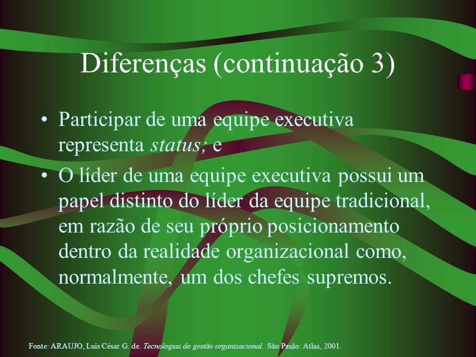 Diferenças (continuação 3) Participar de uma equipe executiva representa status; e O líder de uma equipe executiva possui um papel distinto do líder d