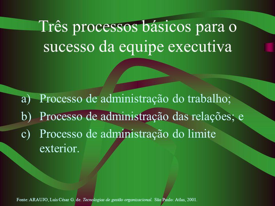 Três processos básicos para o sucesso da equipe executiva a)Processo de administração do trabalho; b)Processo de administração das relações; e c)Proce