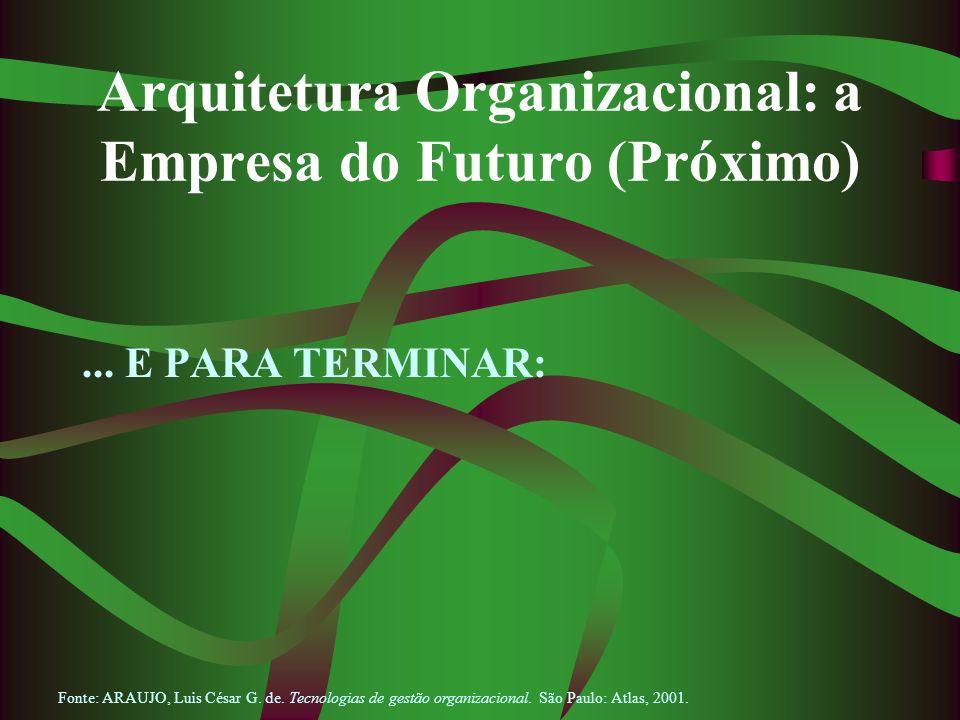 Arquitetura Organizacional: a Empresa do Futuro (Próximo)... E PARA TERMINAR: Fonte: ARAUJO, Luis César G. de. Tecnologias de gestão organizacional. S