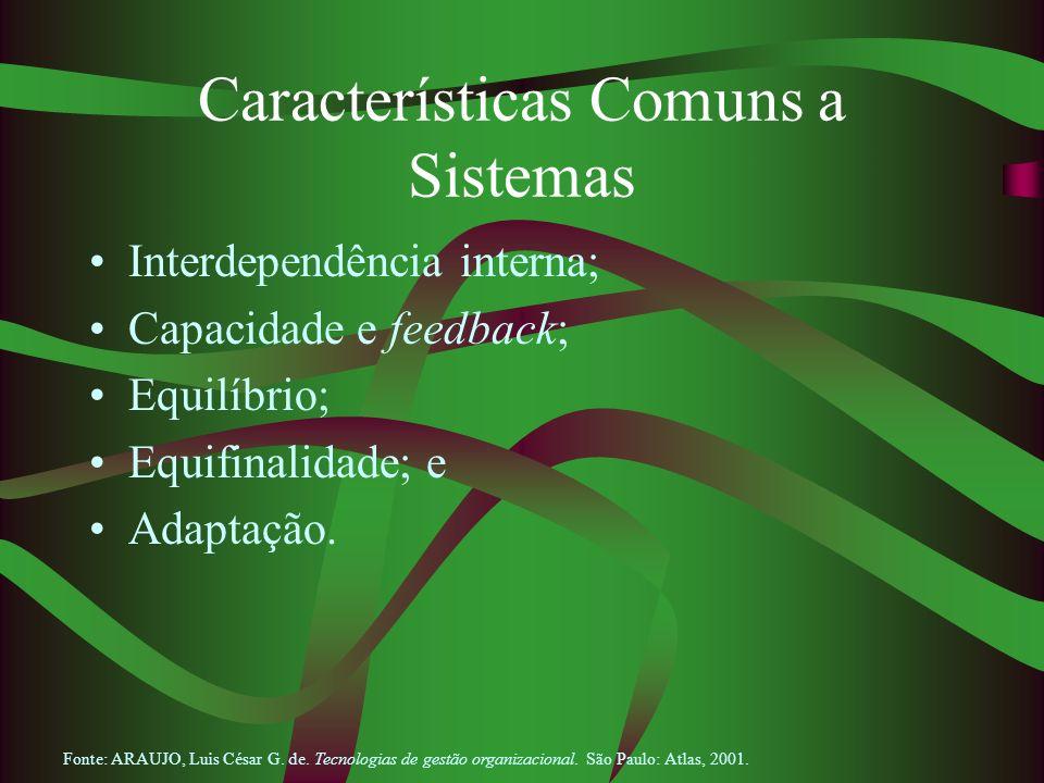 Características Comuns a Sistemas Interdependência interna; Capacidade e feedback; Equilíbrio; Equifinalidade; e Adaptação. Fonte: ARAUJO, Luis César