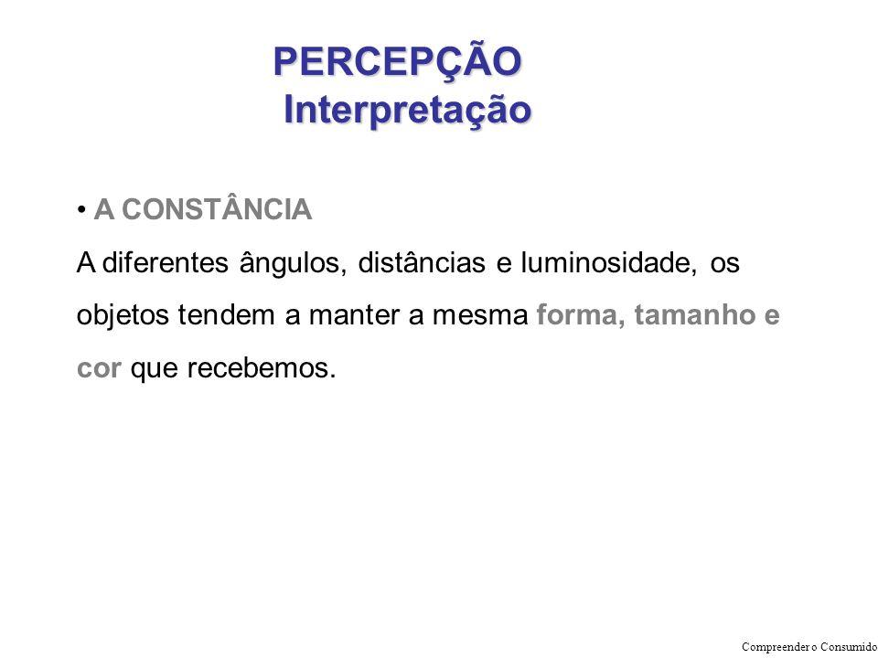 PERCEPÇÃO Interpretação Interpretação Compreender o Consumidor A CONSTÂNCIA A diferentes ângulos, distâncias e luminosidade, os objetos tendem a mante