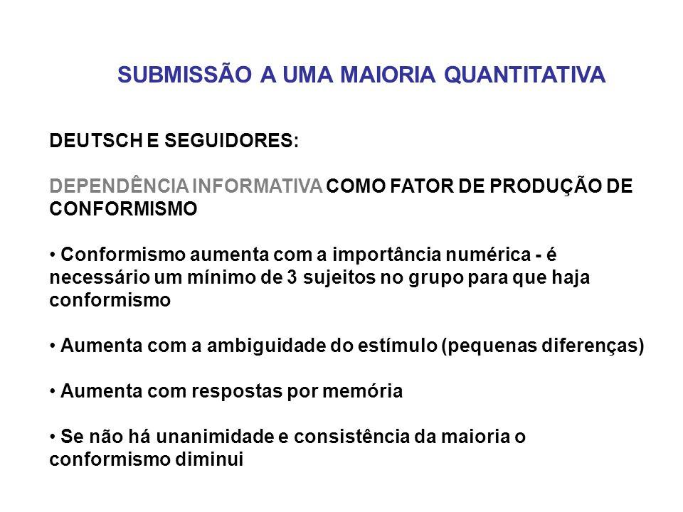 DEUTSCH E SEGUIDORES: DEPENDÊNCIA INFORMATIVA COMO FATOR DE PRODUÇÃO DE CONFORMISMO Conformismo aumenta com a importância numérica - é necessário um m