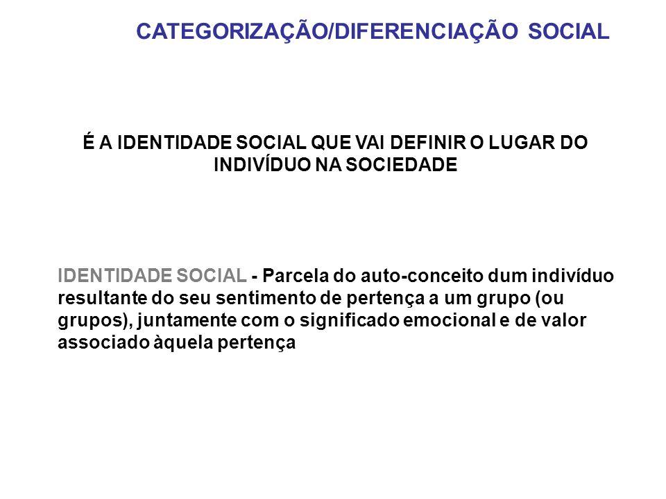 É A IDENTIDADE SOCIAL QUE VAI DEFINIR O LUGAR DO INDIVÍDUO NA SOCIEDADE IDENTIDADE SOCIAL - Parcela do auto-conceito dum indivíduo resultante do seu s