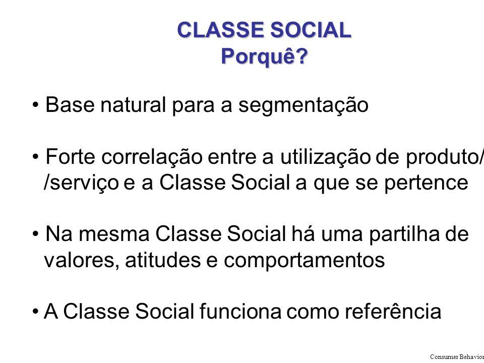CLASSE SOCIAL Porquê? Base natural para a segmentação Forte correlação entre a utilização de produto/ /serviço e a Classe Social a que se pertence Na