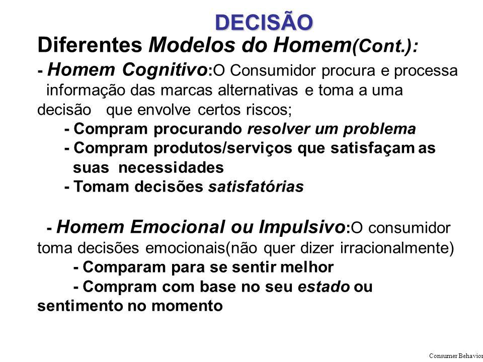 DECISÃO Diferentes Modelos do Homem (Cont.): - Homem Cognitivo :O Consumidor procura e processa informação das marcas alternativas e toma a uma decisã