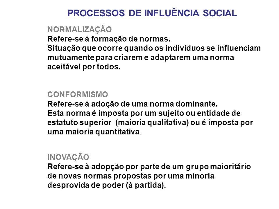 PROCESSOS DE INFLUÊNCIA SOCIAL NORMALIZAÇÃO Refere-se à formação de normas. Situação que ocorre quando os indivíduos se influenciam mutuamente para cr