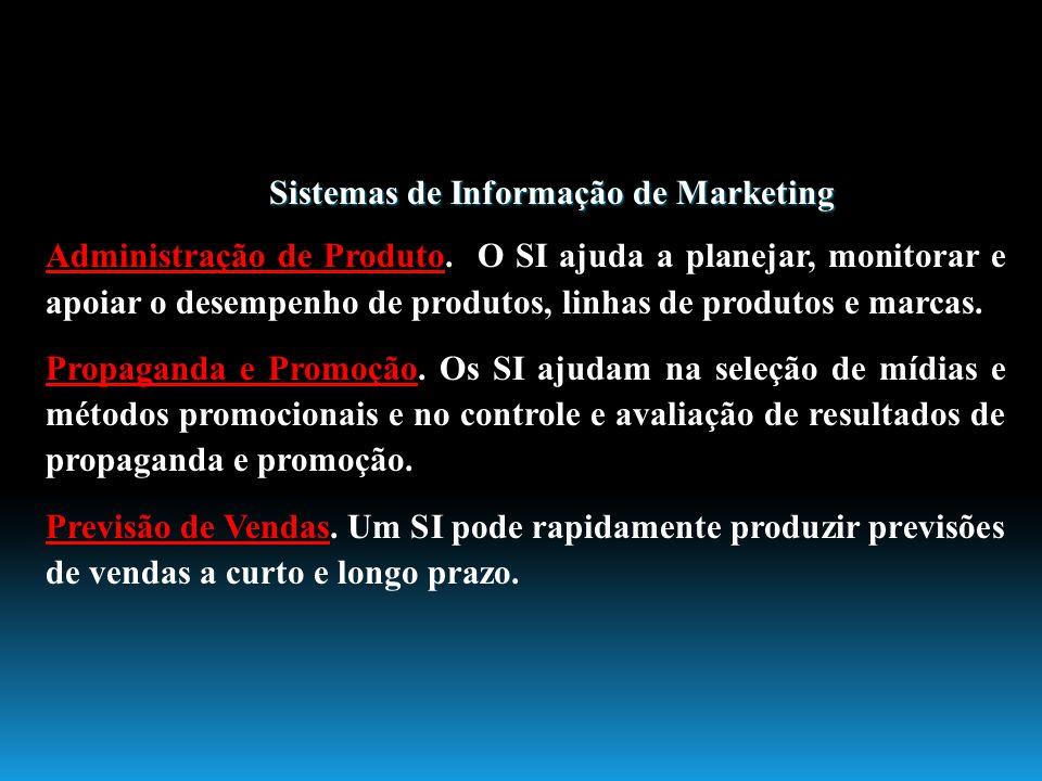Sistemas de Informação de Marketing Administração de Produto. O SI ajuda a planejar, monitorar e apoiar o desempenho de produtos, linhas de produtos e
