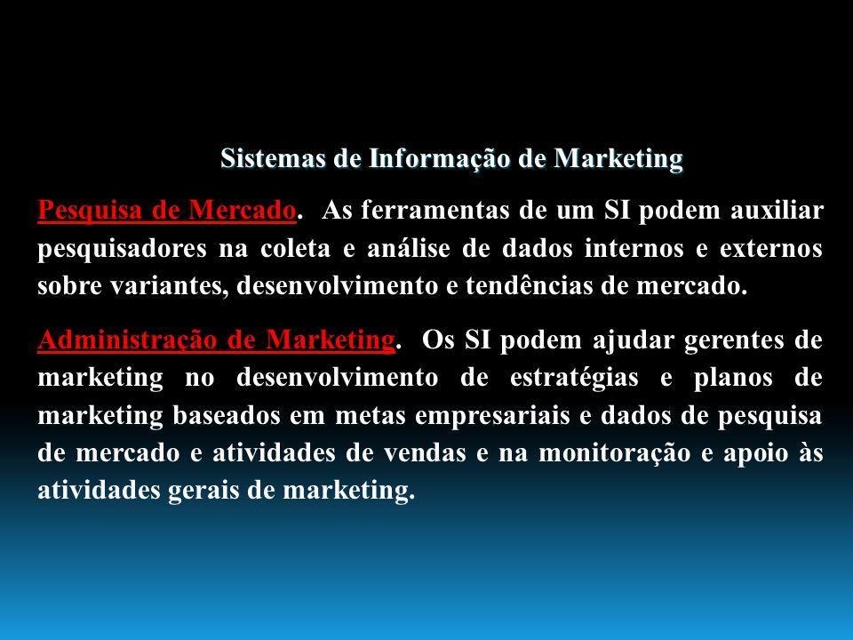 Sistemas de Informação de Marketing Pesquisa de Mercado. As ferramentas de um SI podem auxiliar pesquisadores na coleta e análise de dados internos e