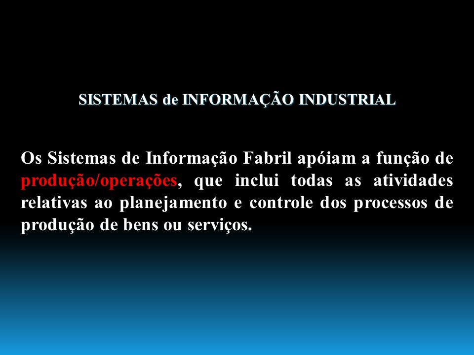 SISTEMAS de INFORMAÇÃO INDUSTRIAL Os Sistemas de Informação Fabril apóiam a função de produção/operações, que inclui todas as atividades relativas ao