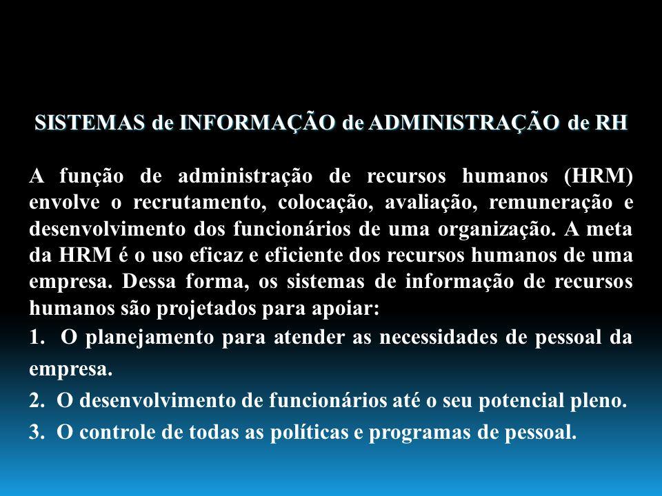 SISTEMAS de INFORMAÇÃO de ADMINISTRAÇÃO de RH A função de administração de recursos humanos (HRM) envolve o recrutamento, colocação, avaliação, remune