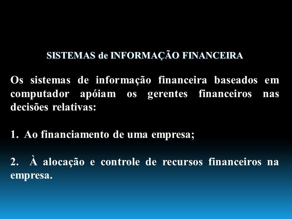 SISTEMAS de INFORMAÇÃO FINANCEIRA Os sistemas de informação financeira baseados em computador apóiam os gerentes financeiros nas decisões relativas: 1