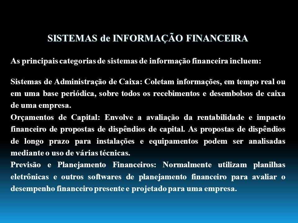 SISTEMAS de INFORMAÇÃO FINANCEIRA As principais categorias de sistemas de informação financeira incluem: Sistemas de Administração de Caixa: Coletam i