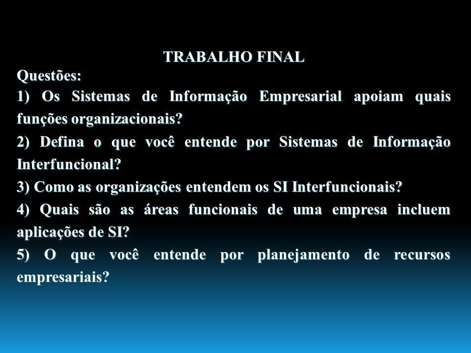 TRABALHO FINAL Questões: 1) Os Sistemas de Informação Empresarial apoiam quais funções organizacionais? 2) Defina o que você entende por Sistemas de I