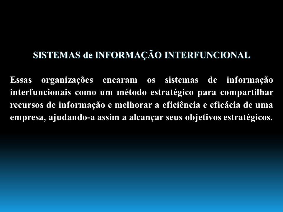 SISTEMAS de INFORMAÇÃO INTERFUNCIONAL Essas organizações encaram os sistemas de informação interfuncionais como um método estratégico para compartilha