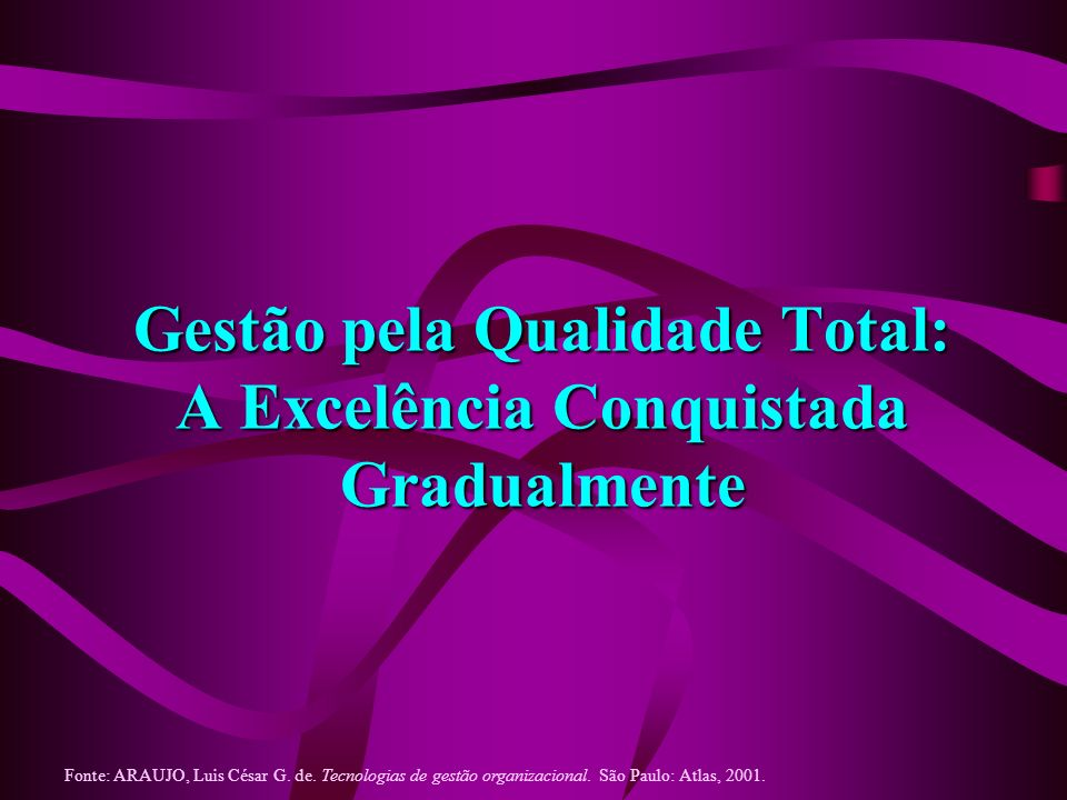 Gestão pela Qualidade Total: A Excelência Conquistada Gradualmente...