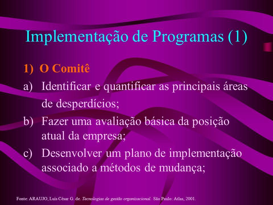 Implementação de Programas (1) 1) O Comitê a)Identificar e quantificar as principais áreas de desperdícios; b)Fazer uma avaliação básica da posição at