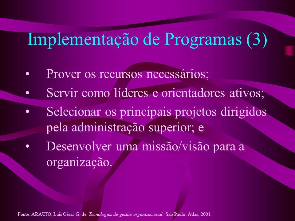 Implementação de Programas (3) Prover os recursos necessários; Servir como líderes e orientadores ativos; Selecionar os principais projetos dirigidos
