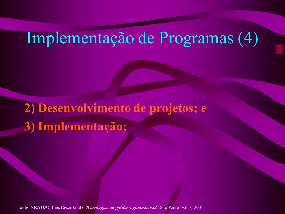 Implementação de Programas (4) 2) Desenvolvimento de projetos; e 3) Implementação; Fonte: ARAUJO, Luis César G. de. Tecnologias de gestão organizacion
