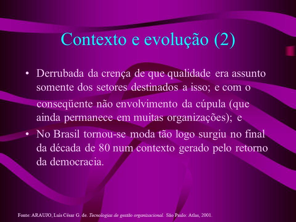 Contexto e evolução (2) Derrubada da crença de que qualidade era assunto somente dos setores destinados a isso; e com o conseqüente não envolvimento d