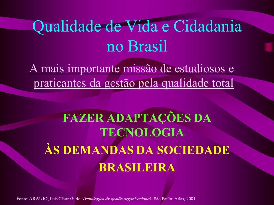 Qualidade de Vida e Cidadania no Brasil A mais importante missão de estudiosos e praticantes da gestão pela qualidade total FAZER ADAPTAÇÕES DA TECNOL