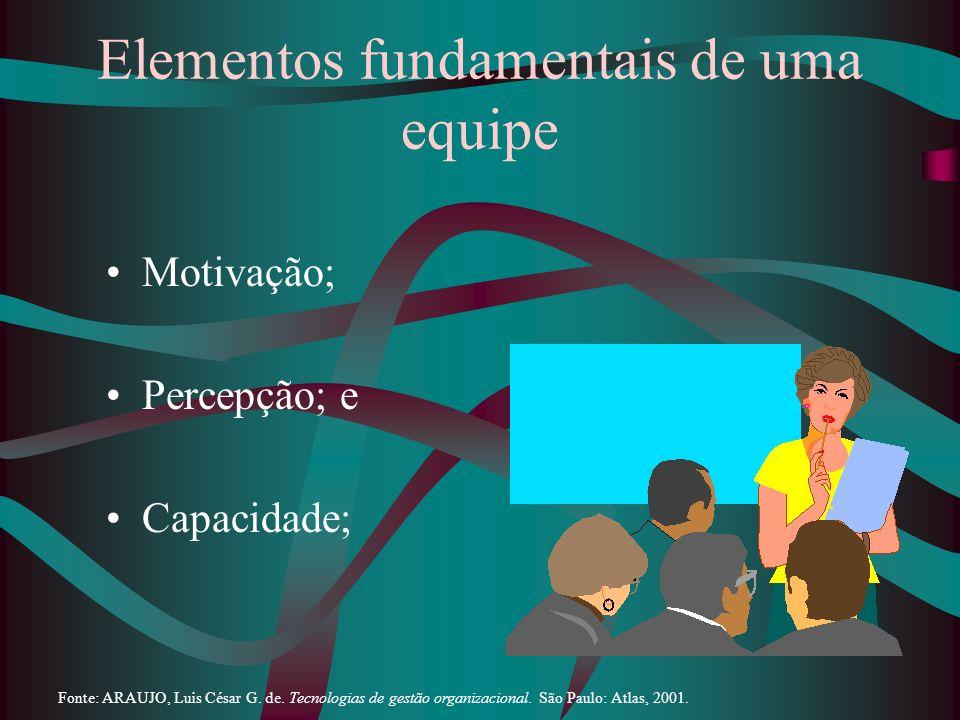 Elementos fundamentais de uma equipe Motivação; Percepção; e Capacidade; Fonte: ARAUJO, Luis César G. de. Tecnologias de gestão organizacional. São Pa