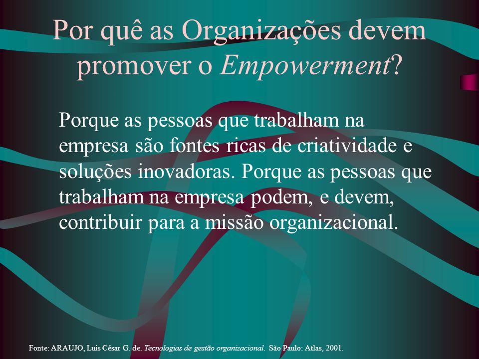 Por quê as Organizações devem promover o Empowerment? Porque as pessoas que trabalham na empresa são fontes ricas de criatividade e soluções inovadora