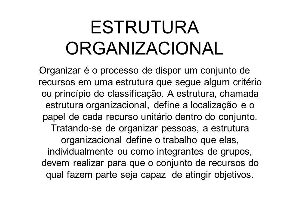 ESTRUTURA ORGANIZACIONAL Organizar é o processo de dispor um conjunto de recursos em uma estrutura que segue algum critério ou princípio de classifica