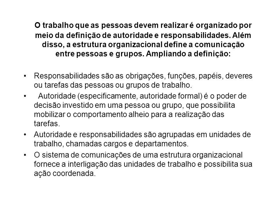 O trabalho que as pessoas devem realizar é organizado por meio da definição de autoridade e responsabilidades. Além disso, a estrutura organizacional