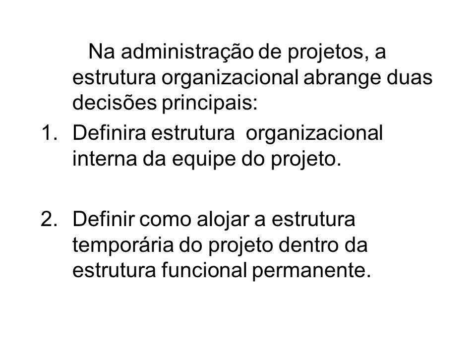 Na administração de projetos, a estrutura organizacional abrange duas decisões principais: 1.Definira estrutura organizacional interna da equipe do pr