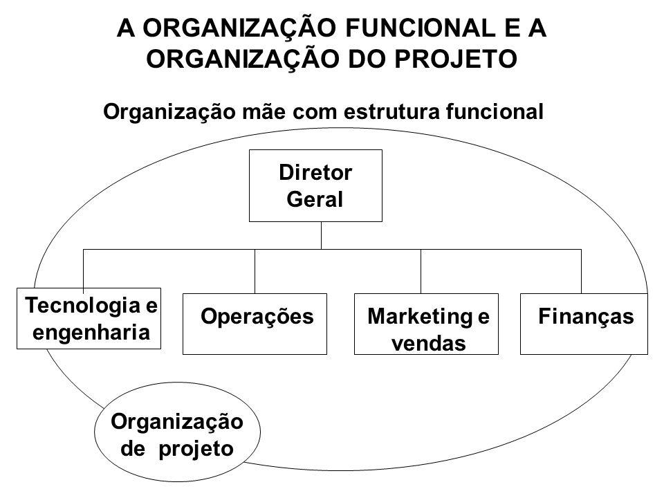 A ORGANIZAÇÃO FUNCIONAL E A ORGANIZAÇÃO DO PROJETO Diretor Geral Tecnologia e engenharia OperaçõesMarketing e vendas Finanças Organização de projeto O