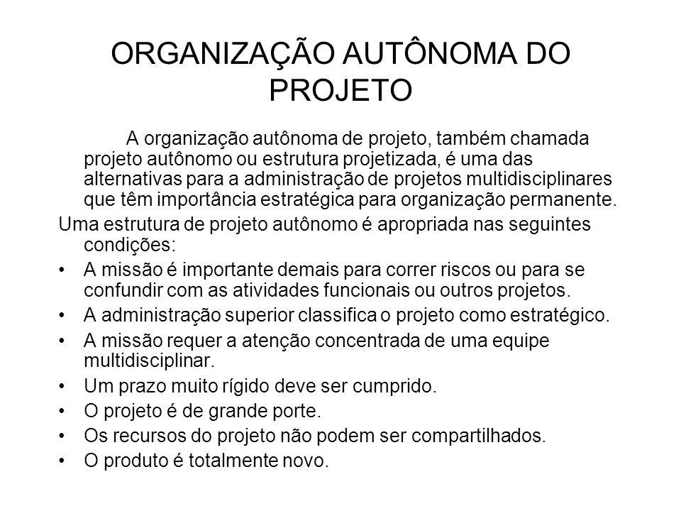 ORGANIZAÇÃO AUTÔNOMA DO PROJETO A organização autônoma de projeto, também chamada projeto autônomo ou estrutura projetizada, é uma das alternativas pa