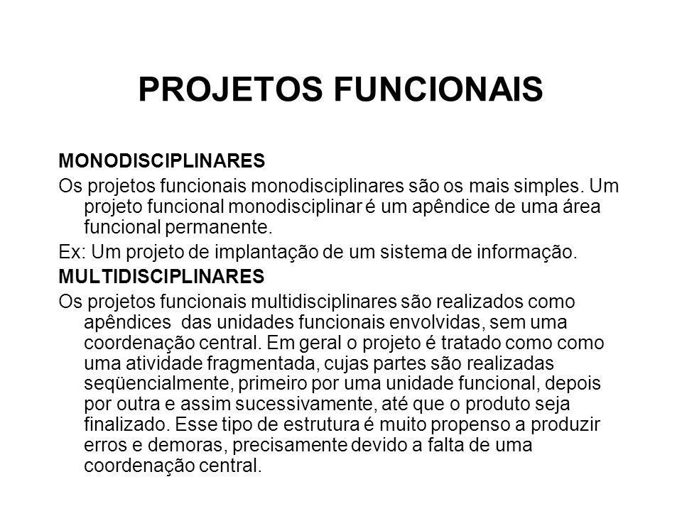 PROJETOS FUNCIONAIS MONODISCIPLINARES Os projetos funcionais monodisciplinares são os mais simples. Um projeto funcional monodisciplinar é um apêndice