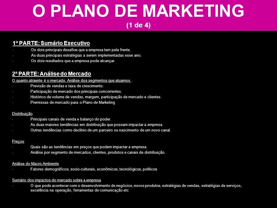 O PLANO DE MARKETING (1 de 4) 1ª PARTE: Sumário Executivo -Os dois principais desafios que a empresa tem pela frente. -As duas principais estratégias