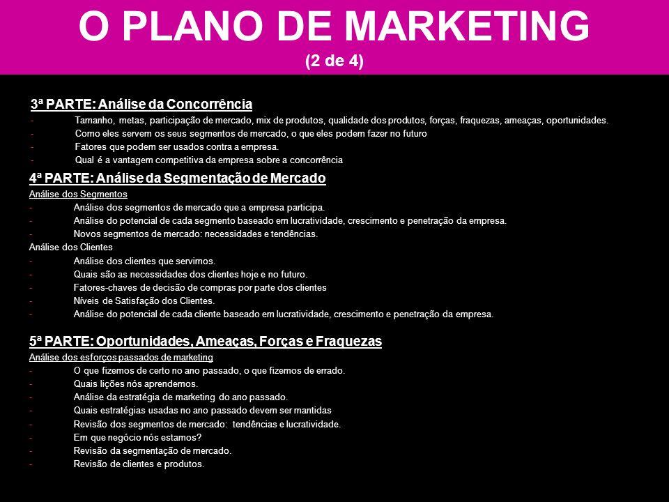 O PLANO DE MARKETING (2 de 4) 3ª PARTE: Análise da Concorrência -Tamanho, metas, participação de mercado, mix de produtos, qualidade dos produtos, for