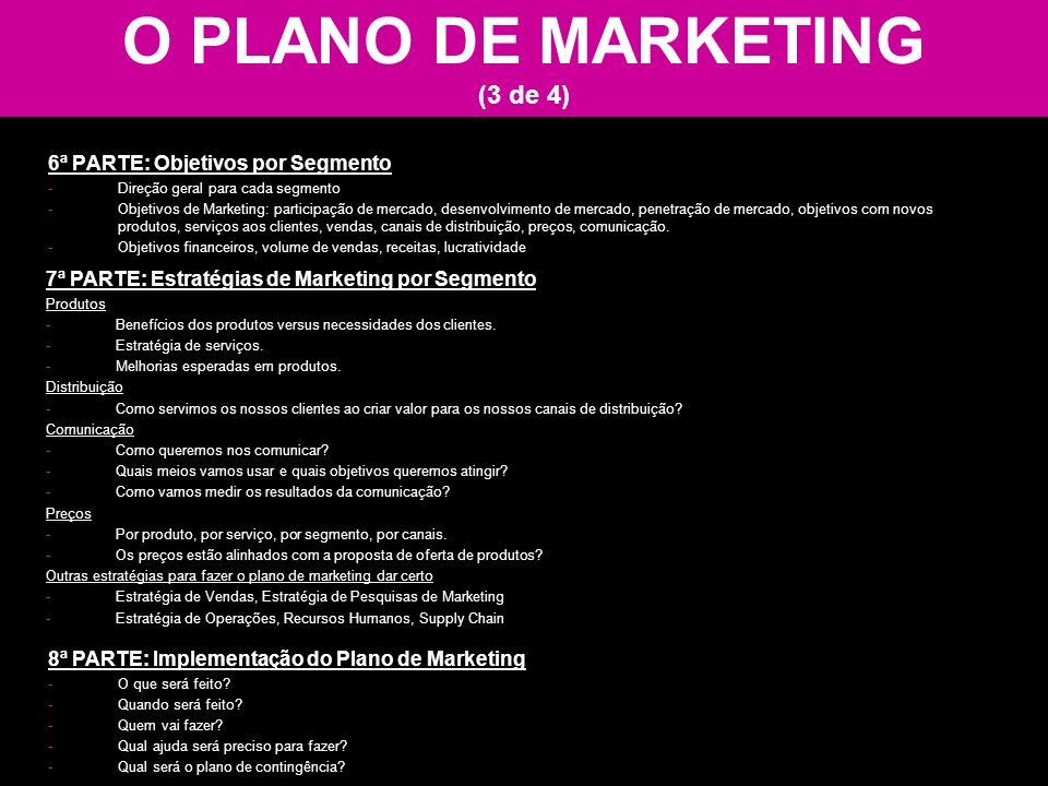 O PLANO DE MARKETING (3 de 4) 6ª PARTE: Objetivos por Segmento -Direção geral para cada segmento -Objetivos de Marketing: participação de mercado, des