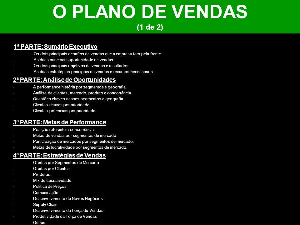O PLANO DE VENDAS (1 de 2) 1ª PARTE: Sumário Executivo -Os dois principais desafios de vendas que a empresa tem pela frente. -As duas principais oport