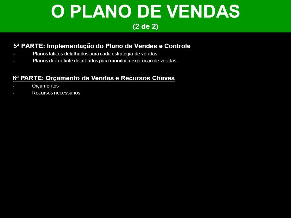 O PLANO DE VENDAS (2 de 2) 5ª PARTE: Implementação do Plano de Vendas e Controle -Planos táticos detalhados para cada estratégia de vendas. -Planos de