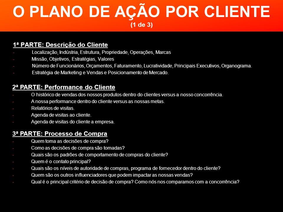 O PLANO DE AÇÃO POR CLIENTE (1 de 3) 1ª PARTE: Descrição do Cliente -Localização, Indústria, Estrutura, Propriedade, Operações, Marcas -Missão, Objeti