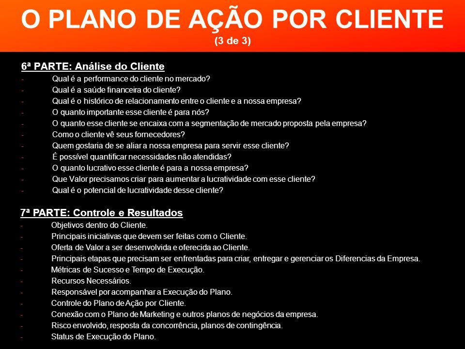 O PLANO DE AÇÃO POR CLIENTE (3 de 3) 6ª PARTE: Análise do Cliente -Qual é a performance do cliente no mercado? -Qual é a saúde financeira do cliente?